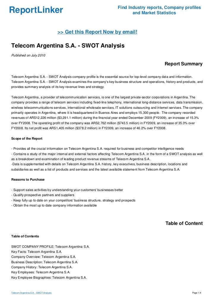Telecom argentina s a swot analysis for Nissan motor finance login