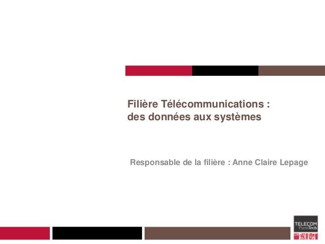 Filière Télécommunications : des données aux systèmes Responsable de la filière : Anne Claire Lepage
