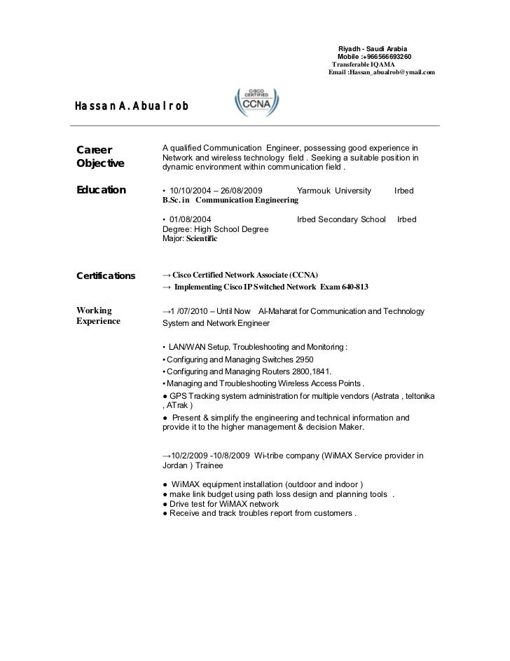 Resume Example Telecommunication Engineer Telecommunications Professionals