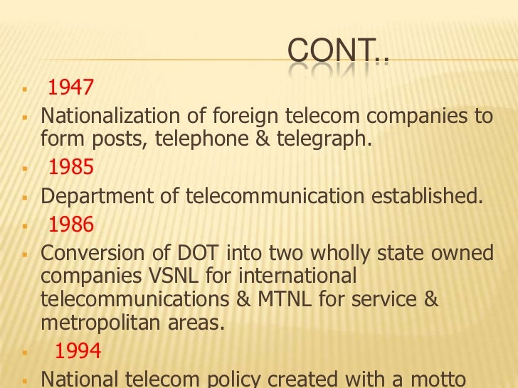 telecommunication sector in india policies Competition policy in telecommunications: on competition policy, including denmark and india can be found at http and sector-specific policies.