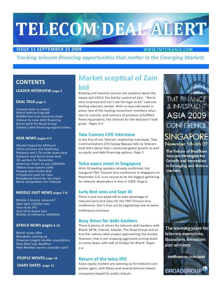 ISSUE 11 SEptEmbEr 23 2009                                                           www.tmtFINANCE.COm Tracking telecom f...