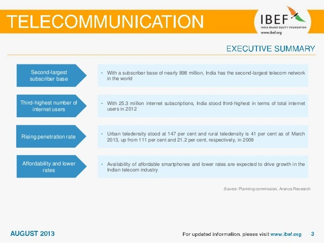 India :Telecommunication Sector Report_August 2013 Slide 3