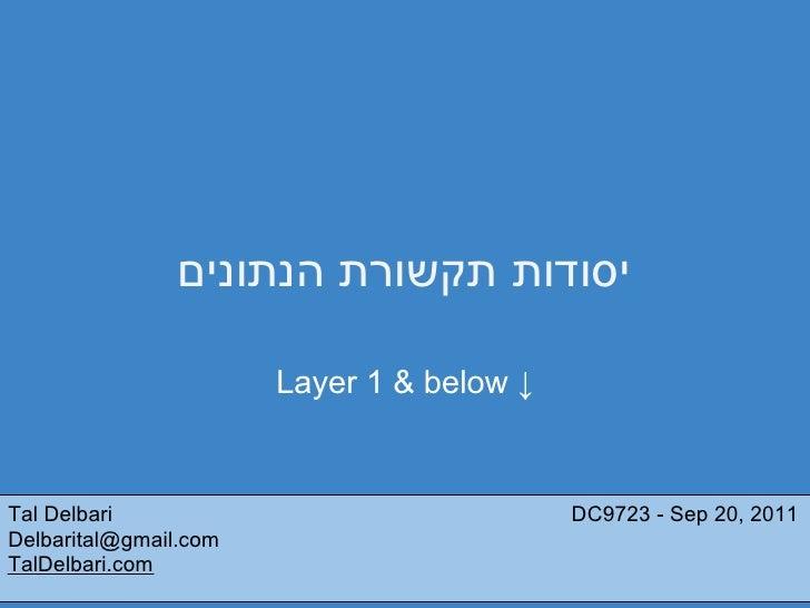 יסודות תקשורת הנתונים                       Layer 1 & below ↓Tal Delbari                                DC9723 - Sep 20,...