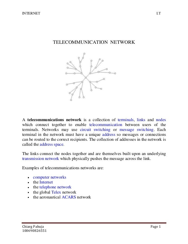 TELECOMMUNICATION  NETWORK<br />1789430154940<br />A telecommunications network is a collection of terminals, links and no...