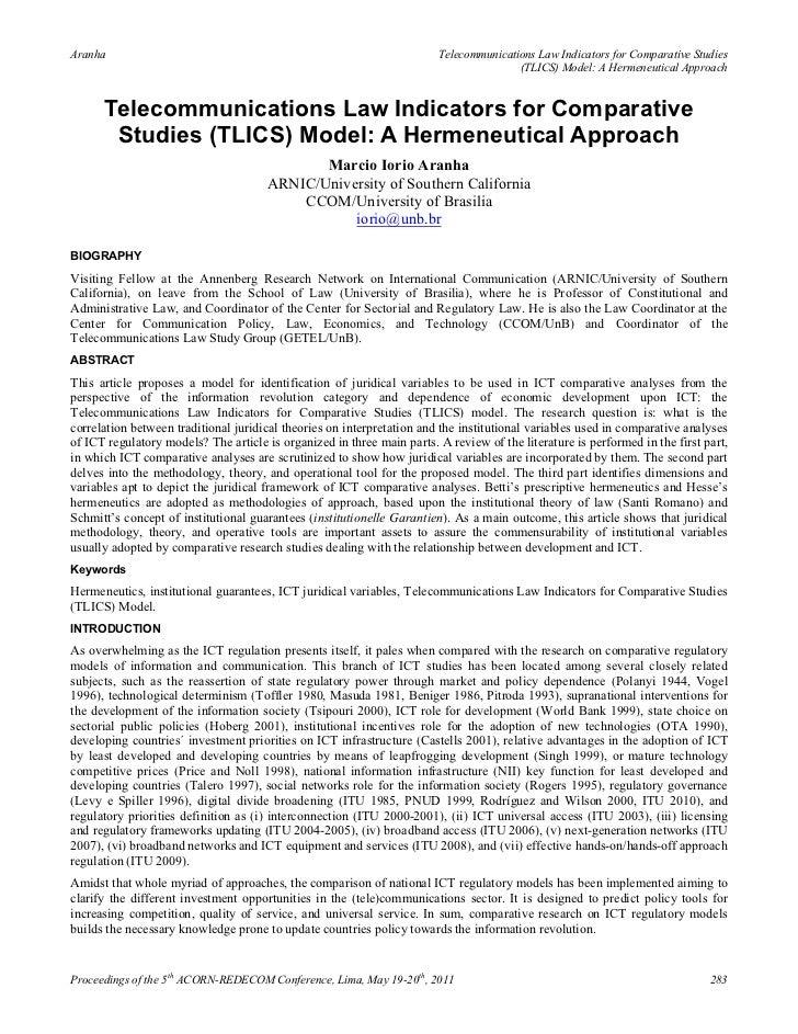 Aranha                                                                  Telecommunications Law Indicators for Comparative ...
