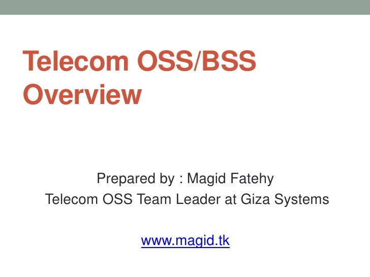 Telecom OSS/BSS Overview
