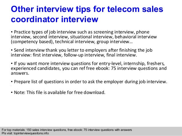 telecom sales coordinator interview questions and answers