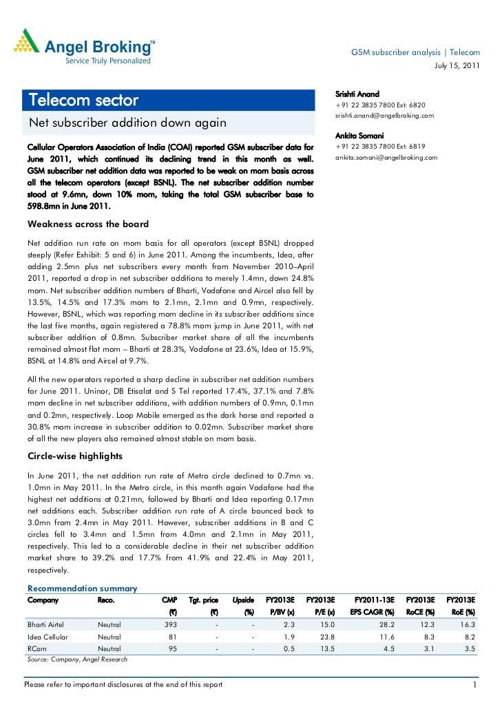 GSM subscriber analysis | Telecom                                                                                         ...