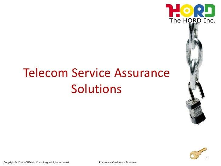 Telecom Service Assurance                          Solutions                                                              ...