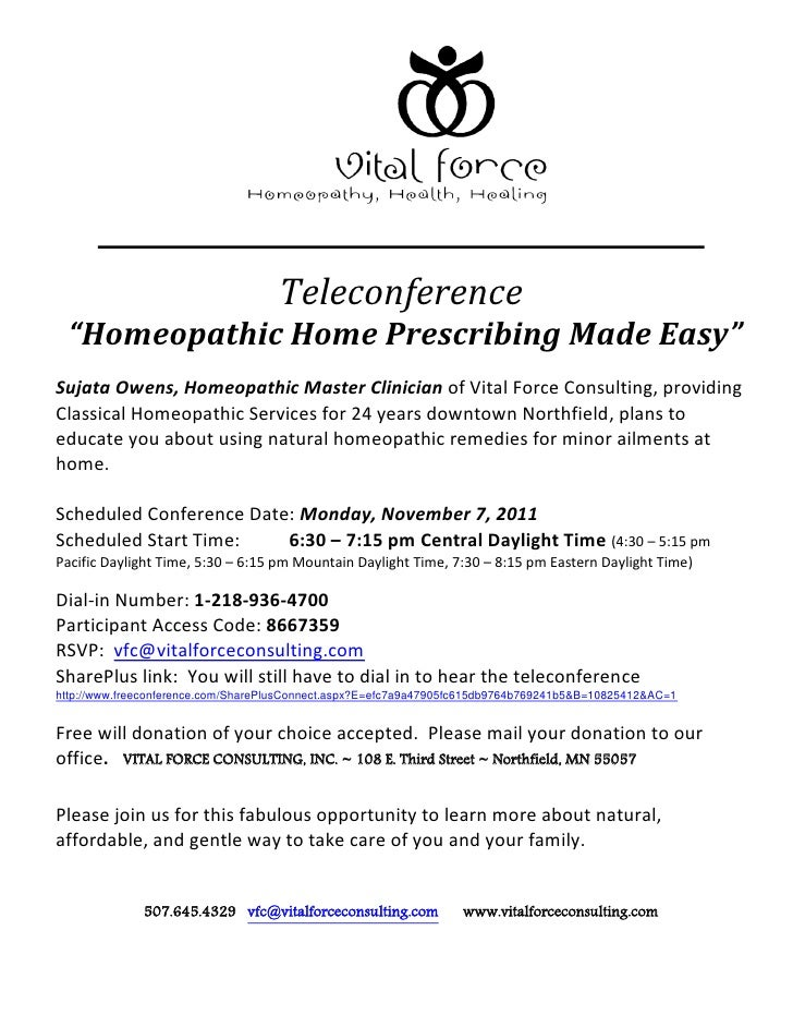 """Teleconference  """"Homeopathic Home Prescribing Made Easy""""Sujata Owens, Homeopathic Master Clinician of Vital Force Consulti..."""