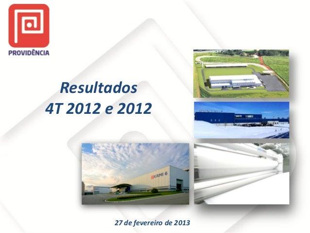 Resultados 4T 2012 e 2012  27 de fevereiro de 2013