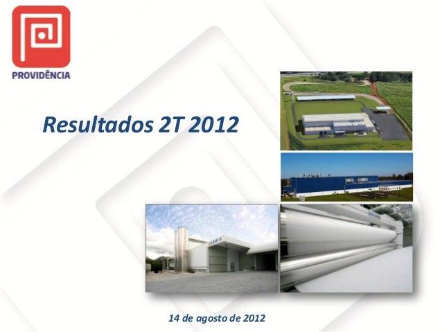 Resultados 2T 2012  14 de agosto de 2012