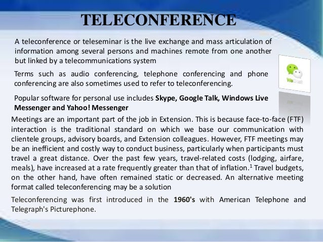 Teleconferencing applications