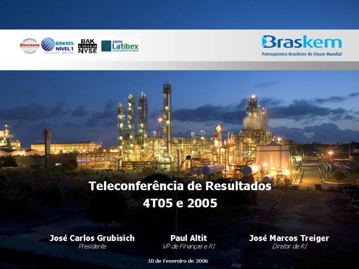 Teleconferência de resultados 4 t05