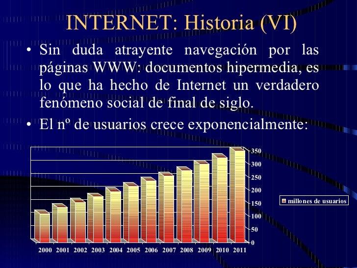 INTERNET: Historia (VI) <ul><li>Sin duda atrayente navegación por las páginas WWW: documentos hipermedia, es lo que ha hec...
