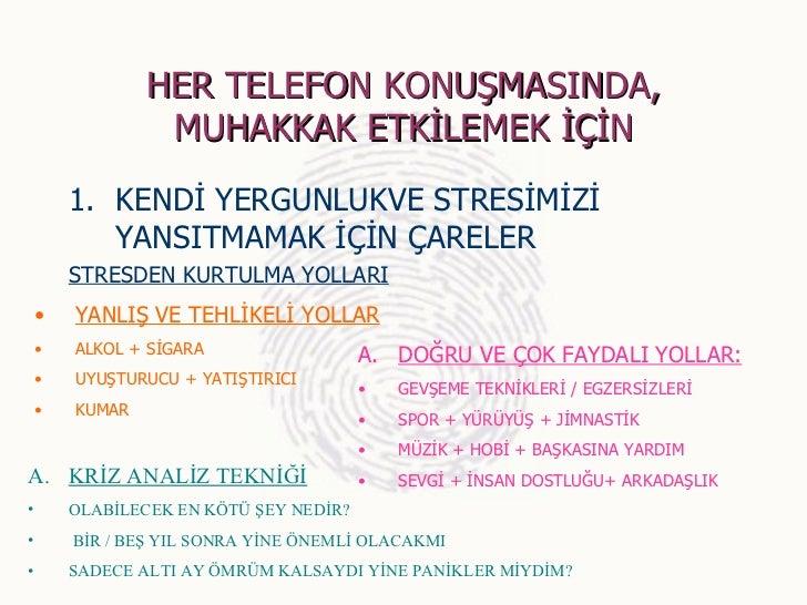 HER TELEFON KONUŞMASINDA,                 MUHAKKAK ETKİLEMEK İÇİN        1. KENDİ YERGUNLUKVE STRESİMİZİ           YANSITM...