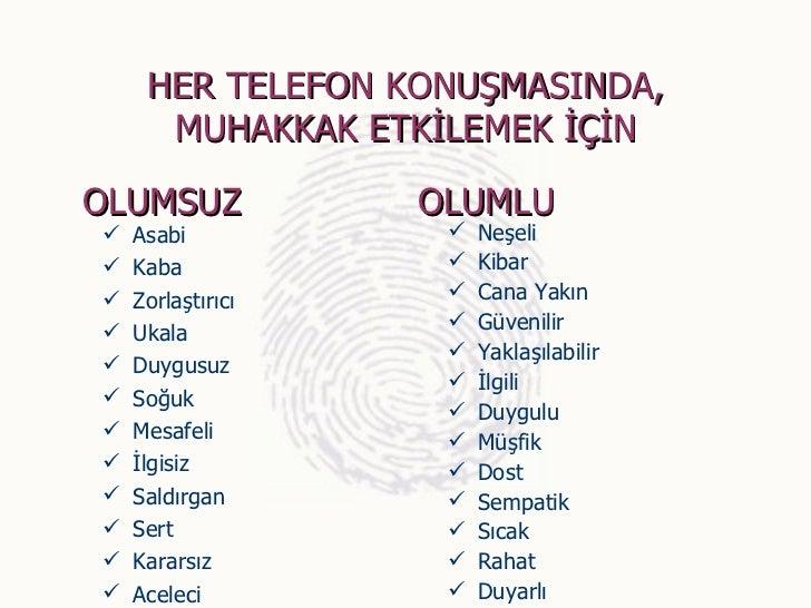 HER TELEFON KONUŞMASINDA,      MUHAKKAK ETKİLEMEK İÇİNOLUMSUZ            OLUMLU   Asabi              Neşeli   Kaba     ...