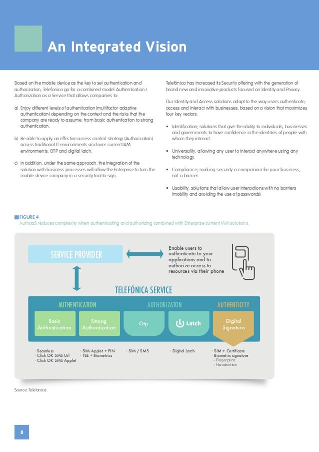8 An Integrated Vision Based on the mobile device as the key to set authentication and authorization, Telefonica go for a ...