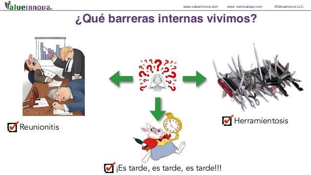 www.valueinnova.com www. seriousleap.com ©Valueinnova LLC, Herramientosis ¿Qué barreras internas vivimos? ¡Es tarde, es ta...