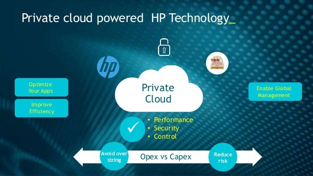 Private cloud powered HP Technology_  Opex vs Capex Avoid over  sizing  Reduce  risk  Private  Cloud    • Performance  • ...