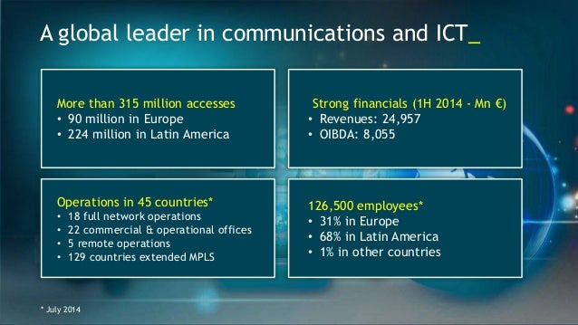 A global leader in communications and ICT_  More than 315 million accesses  • 90 million in Europe  • 224 million in Latin...