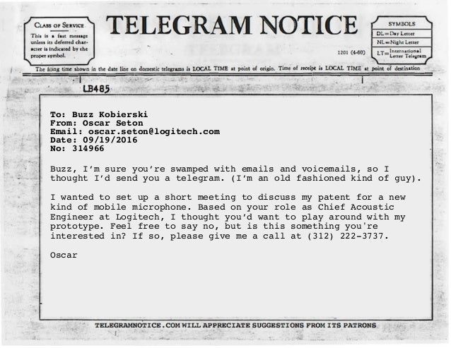Telegram Notice Sample