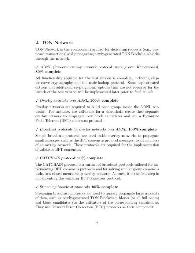 Telegram open network development status (september 5, 2018) Slide 2