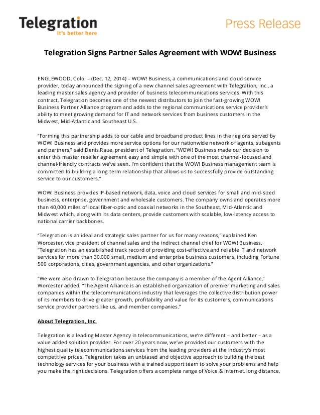 Telegration Signs Partner Sales Agreement With Wow Business