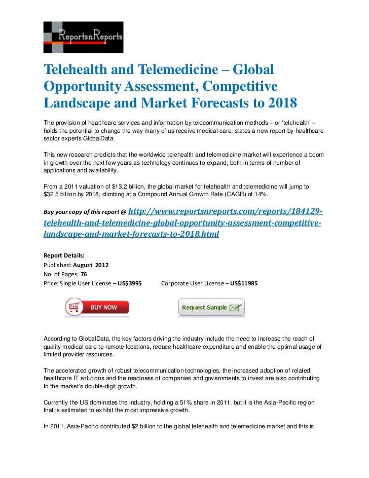 Telehealth and Telemedicine – GlobalOpportunity Assessment, CompetitiveLandscape and Market Forecasts to 2018The provision...