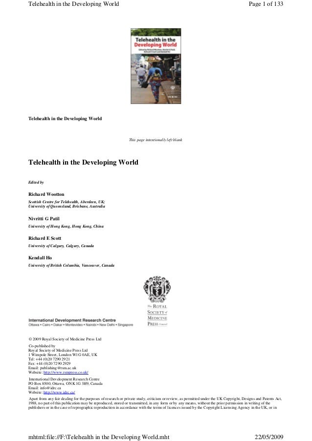 Telehealth in the Developing World This page intentionally left blank Telehealth in the Developing World Edited by Richard...