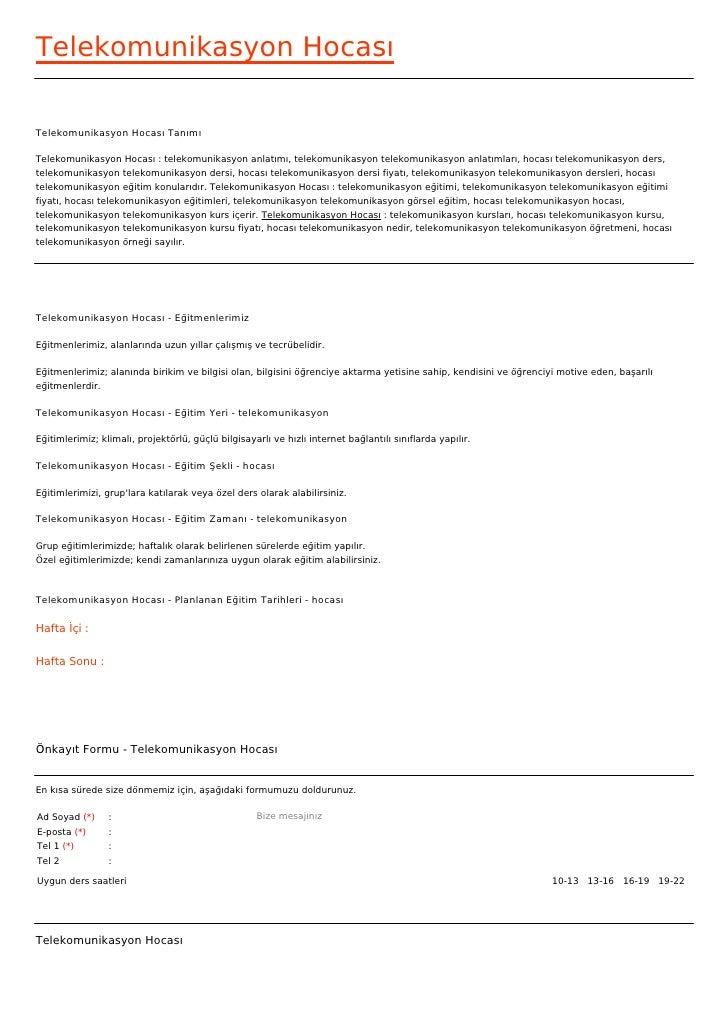 Telekomunikasyon HocasıTelekomunikasyon Hocası TanımıTelekomunikasyon Hocası : telekomunikasyon anlatımı, telekomunikasyon...