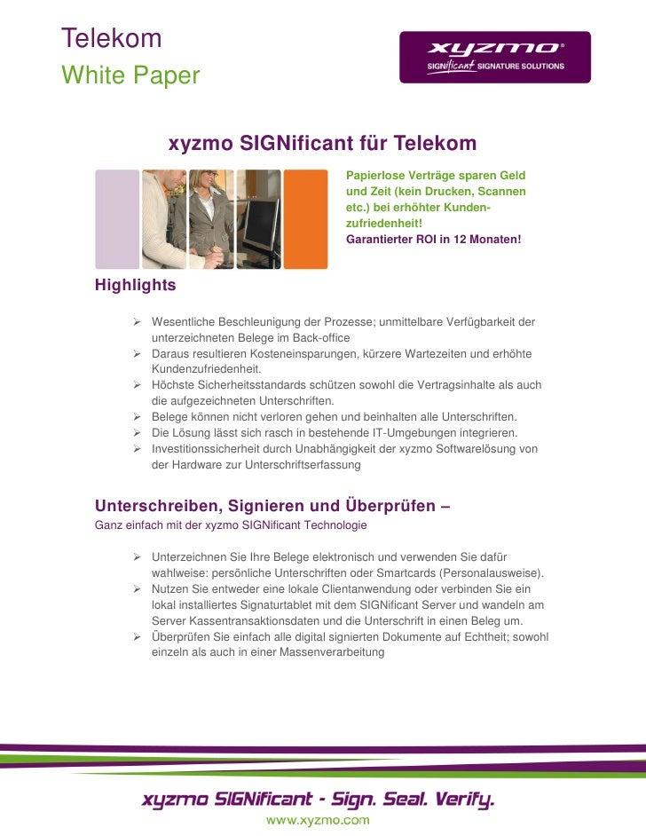 Telekom White Paper                 xyzmo SIGNificant für Telekom                                                 Papierlo...