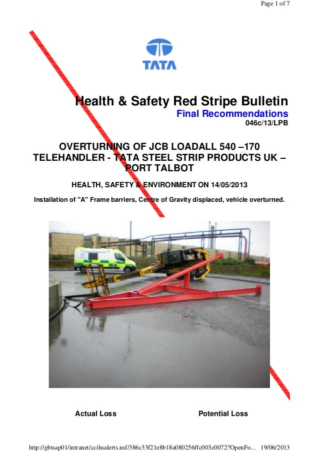 Health & Safety Red Stripe Bulletin Final Recommendations 046c/13/LPB OVERTURNING OF JCB LOADALL 540 –170 TELEHANDLER - TA...