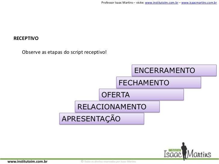 RECEPTIVO<br />Observe as etapas do script receptivo!<br />ENCERRAMENTO<br />FECHAMENTO<br />OFERTA<br />RELACIONAMENTO<br...