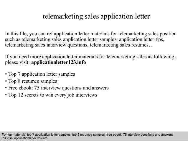 telemarketing sales application letter in this file you can ref application letter materials for telemarketing application letter sample