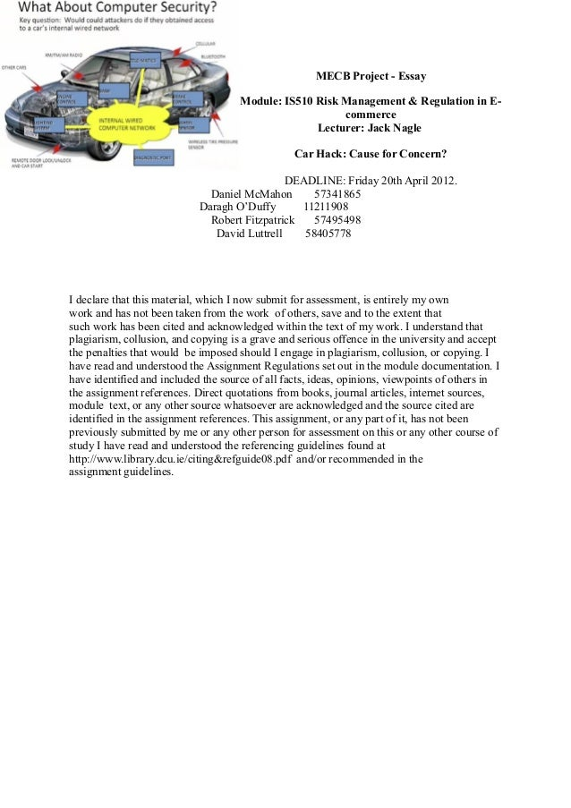 MECB Project - Essay                                     Module: IS510 Risk Management & Regulation in E-                 ...