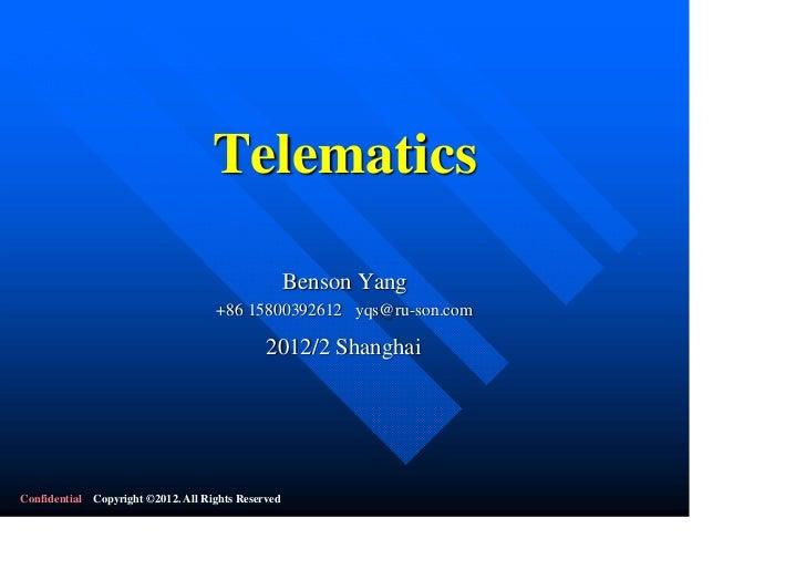 Telematics                                                    Benson Yang                                    +86 158003926...