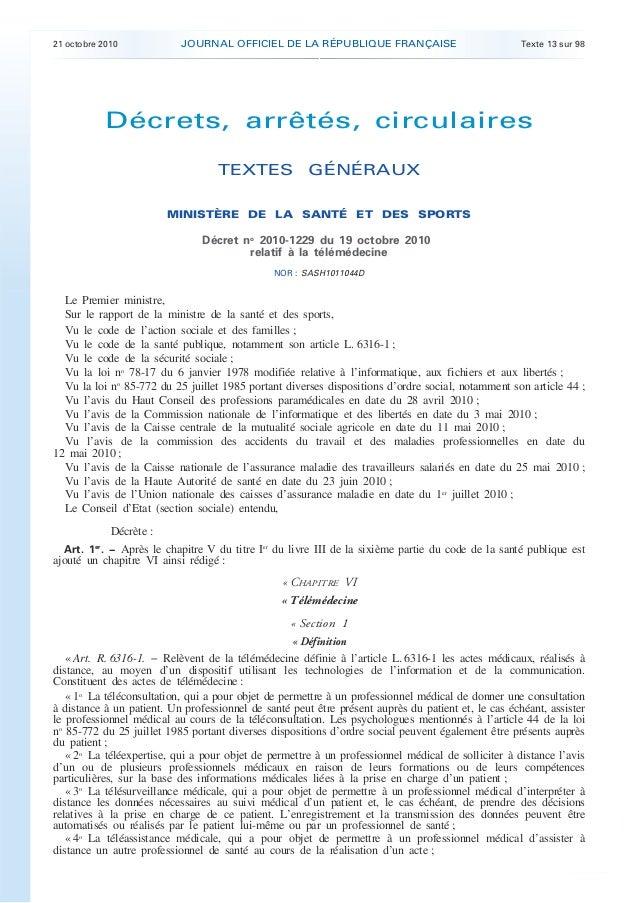 21 octobre 2010 JOURNAL OFFICIEL DE LA RÉPUBLIQUE FRANÇAISE Texte 13 sur 98 . . Décrets, arrêtés, circulaires TEXTES GÉNÉR...