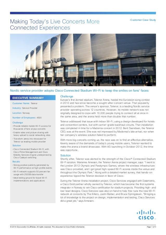 Making Today's Live Concerts More Connected Experiences  Customer Case Study  Nordic service provider adopts Cisco Connect...