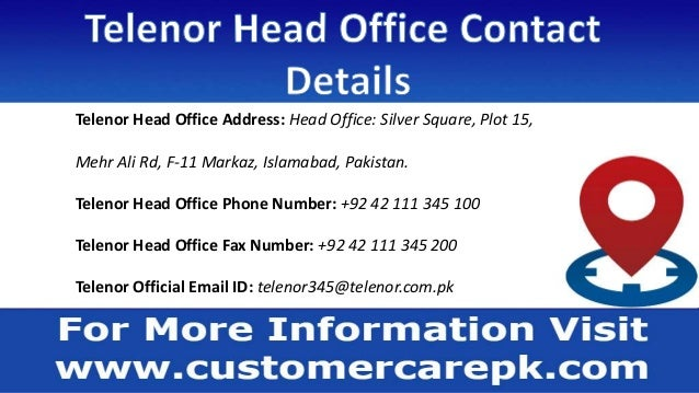 Telenor Customer Care Phone Number, Office Address, Email