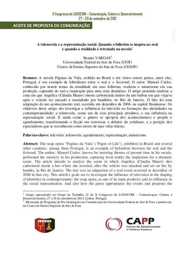 X Congresso da LUSOCOM – Comunicação, Cultura e Desenvolvimento                                           27 – 29 de setem...