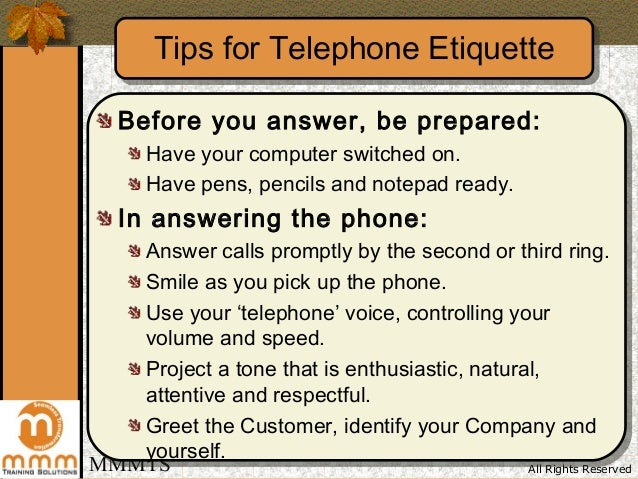 telephone etiquette In summary effective telephone communication skills result in more productive relationships that lead to better customer service and perhaps increased sales.