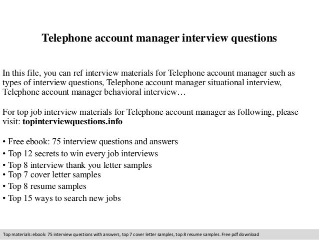 Elegant Telephone Account Manager Interview Questions In This File, You Can Ref  Interview Materials For Telephone