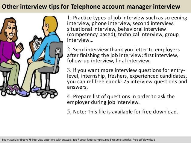 Telephone account manager interview questions