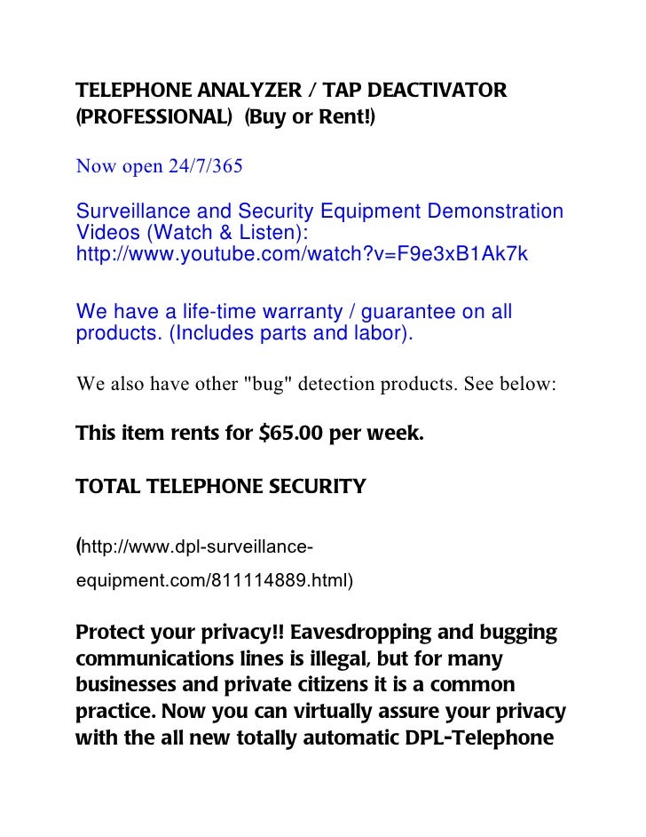 TELEPHONE ANALYZER / TAP DEACTIVATOR(PROFESSIONAL) (Buy or Rent!)Now open 24/7/365Surveillance and Security Equipment Demo...