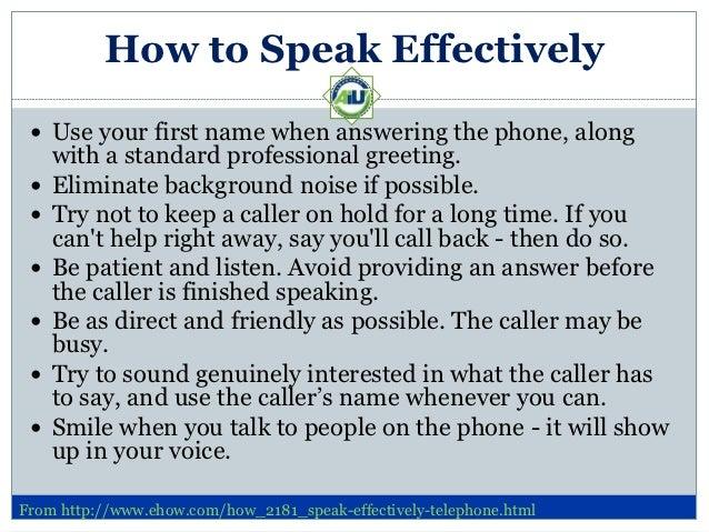 how to speak effectively