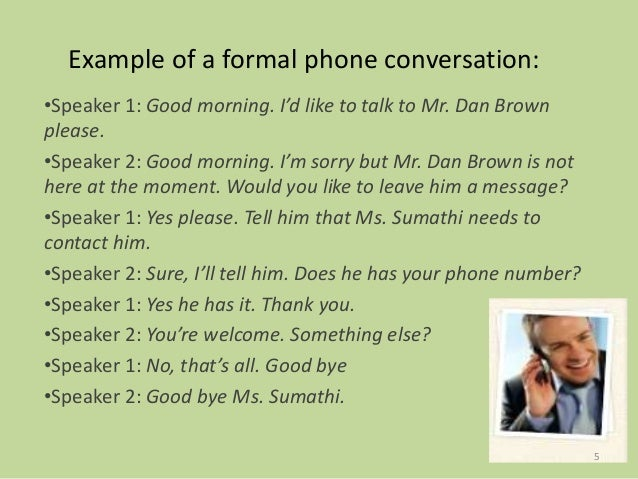 business telephone conversation example dialogue