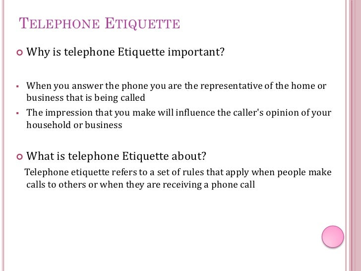 Telephone Etiquette - Sunset Reef
