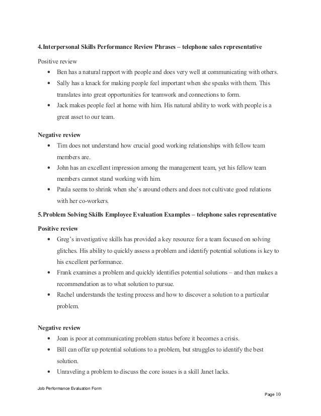 Telephone sales representative performance appraisal