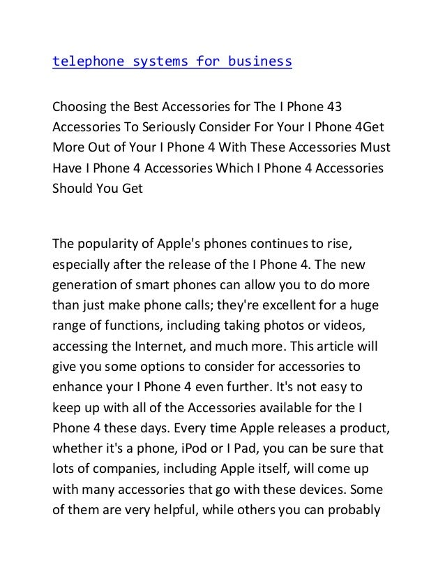 telephone systems for business Choosing the Best Accessories for The I Phone 43 Accessories To Seriously Consider For Your...